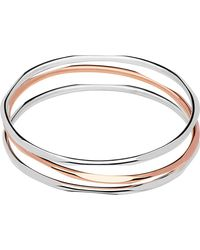 Links of London | Metallic 20/20 Three Loop Sterling Silver And 18ct Rose Gold Bangle | Lyst