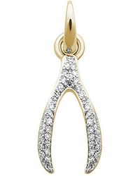 Links of London | Metallic Wishbone 18ct Yellow-gold And Diamond Charm | Lyst