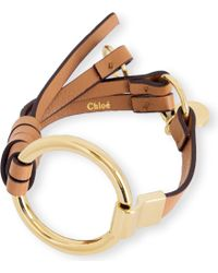 Chloé - Brown Leather And Brass Circle Bracelet - Lyst