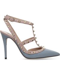 Valentino - Blue Rockstud 100 Patent-leather Courts - Lyst