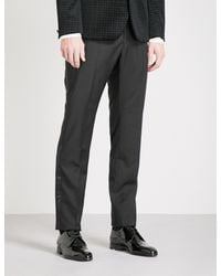 Hardy Amies | Black Heddon-fit Straight Wool And Mohair-blend Trousers for Men | Lyst