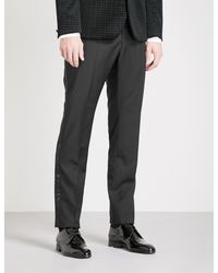 Hardy Amies - Black Heddon-fit Straight Wool And Mohair-blend Trousers for Men - Lyst