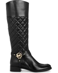 MICHAEL Michael Kors | Black Fulton Harness Leather Boots | Lyst