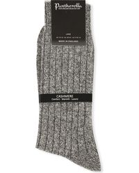 Pantherella - Gray Ribbed Cashmere-blend Socks for Men - Lyst