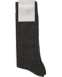 Pantherella | Gray Ribbed Cashmere-blend Socks | Lyst