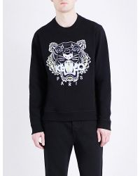 KENZO | Black Tiger-embroidered Cotton-jersey Sweatshirt for Men | Lyst