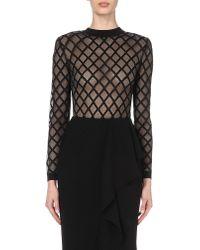 Balmain - Black Diamond-pattern Stretch-knit Bodysuit - Lyst