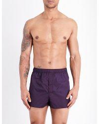 Derek Rose | Blue Nelson 60 Cotton Boxer Shorts for Men | Lyst