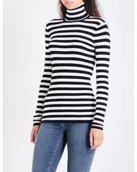 Maje - Multicolor Molleton Turtleneck Striped Knitted Jumper - Lyst