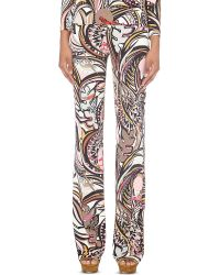 Emilio Pucci | Pink Abstract-print Slim-fit Jersey Trousers | Lyst