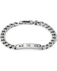 Gucci | Metallic Ghost Gourmette Sterling Silver Bracelet for Men | Lyst