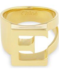 Chloé - Metallic Alphabet E Ring - Lyst