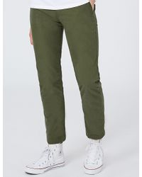 Topman - Green Standard-fit Tapered Cotton Trousers for Men - Lyst