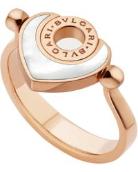 BVLGARI - Metallic - Cuore 18ct Pink-gold And Mother-of-pearl Flip Ring - Lyst