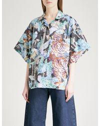 KENZO - Black Jungle-print Cotton And Linen-blend Shirt - Lyst