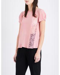 Claudie Pierlot - Black Bento Crepe And Floral-lace Top - Lyst