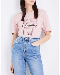 Ksubi - Pink Ladies Midnight Blue Casual Stay Human Cotton And Linen-blend T-shirt - Lyst