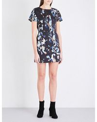 French Connection | Black Abstract-print Stretch-cotton Dress | Lyst