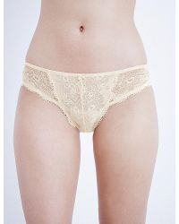 Panache | Natural Clara Stretch-lace And Mesh Briefs | Lyst