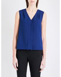 French Connection | Blue Polly Plains Crepe And Jersey Top | Lyst