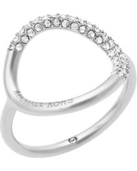 Michael Kors - Black Brilliance Silver-toned Pavé Ring - Lyst
