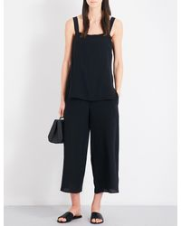 Theory - Black Dinnlean Mosaic Wide-leg Cropped Silk-crepe Jumpsuit - Lyst