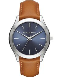 Michael Kors - Metallic Mk8507 Slim Runway Stainless Steel And Leather Watch for Men - Lyst