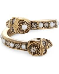 Alexander McQueen - Metallic Jewel-studded Twin Skulls Ring - Lyst