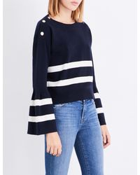 Claudie Pierlot - Blue Striped Cotton And Wool-blend Jumper - Lyst