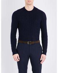 Ralph Lauren Purple Label - Blue Cable-knit Pure Cashemere Jumper for Men - Lyst