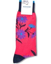 Duchamp - Pink Floral-patterned Cotton-blend Socks for Men - Lyst