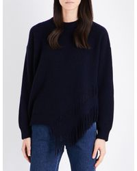 Stella McCartney | Blue Fringed Cashmere And Wool-blend Jumper | Lyst