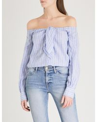 Free People - Blue Hello There Beautiful Linen And Cotton-blend Top - Lyst