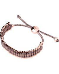 Links of London - Black Rose Gold Taupe And Copper Friendship Bracelet - Lyst