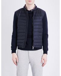 Moncler - Blue Cardi Quilted Shell And Cotton-jersey Jacket for Men - Lyst