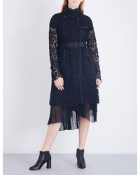 Sacai | Black Buckle-fastened Floral-lace Coat | Lyst