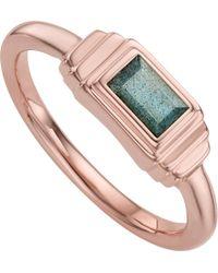 Monica Vinader - Metallic Baja Deco 18ct Rose Gold And Labradorite Ring - Lyst