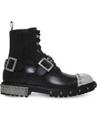Alexander McQueen - Black Steel Toe Cap Leather Biker Boots for Men - Lyst