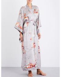 Meng - Purple Floral-print Silk-satin Robe - Lyst
