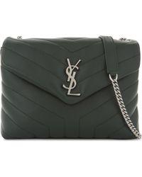 Saint Laurent - Green Monogram Loulou Leather Shoulder Bag - Lyst