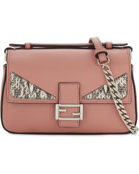 Fendi | Pink Monster Eyes Leather Double Baguette Shoulder Bag | Lyst