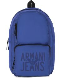Armani Jeans - Blue Packaway Nylon Backpack - Lyst