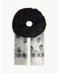 Alexander McQueen - Black Gradient Skull Print Modal-blend Scarf - Lyst