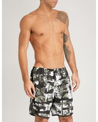 Neil Barrett - Green Camo-pint Swim Shorts for Men - Lyst