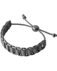 Links of London - Gray Ruthenium And Woven Cord Friendship Bracelet - Lyst