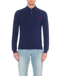Polo Ralph Lauren - Blue Slim-fit Cotton-piqué Polo Shirt for Men - Lyst