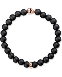 Thomas Sabo   Metallic Rebel At Heart Gold-plated And Matte Obsidian Bracelet   Lyst