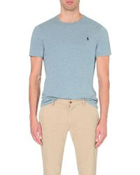Polo Ralph Lauren - Blue Custom-fit Logo Cotton-jersey T-shirt for Men - Lyst