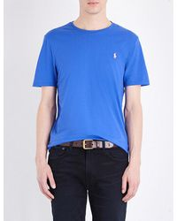 Polo Ralph Lauren - Blue Crewneck Cotton-jersey T-shirt for Men - Lyst