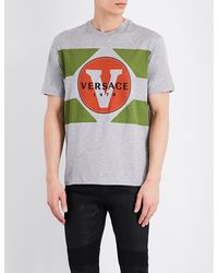 Versace - Gray Logo-print Cotton T-shirt for Men - Lyst